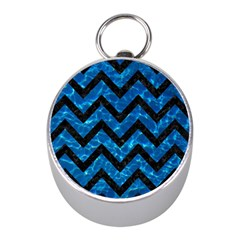 Chevron9 Black Marble & Deep Blue Water (r) Mini Silver Compasses by trendistuff
