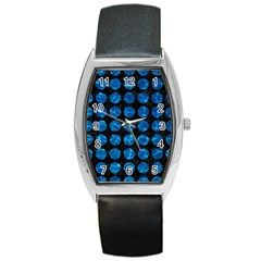 Circles1 Black Marble & Deep Blue Water Barrel Style Metal Watch by trendistuff