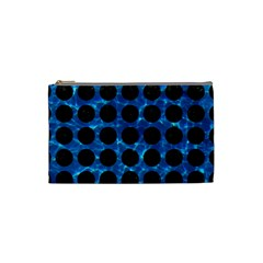 Circles1 Black Marble & Deep Blue Water (r) Cosmetic Bag (small)  by trendistuff