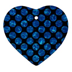 Circles2 Black Marble & Deep Blue Water Heart Ornament (two Sides) by trendistuff