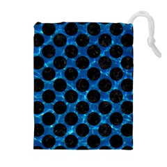 Circles2 Black Marble & Deep Blue Water (r) Drawstring Pouches (extra Large) by trendistuff