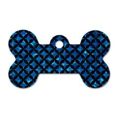Circles3 Black Marble & Deep Blue Water (r) Dog Tag Bone (one Side) by trendistuff