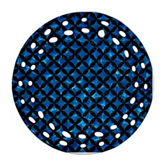 Circles3 Black Marble & Deep Blue Water (r) Round Filigree Ornament (two Sides) by trendistuff