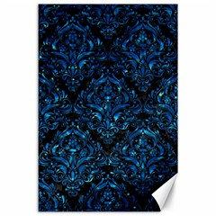 Damask1 Black Marble & Deep Blue Water Canvas 24  X 36  by trendistuff