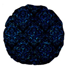 Damask1 Black Marble & Deep Blue Water Large 18  Premium Round Cushions by trendistuff