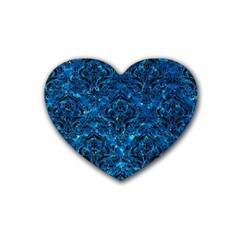 Damask1 Black Marble & Deep Blue Water (r) Rubber Coaster (heart)  by trendistuff