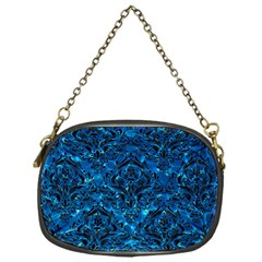 Damask1 Black Marble & Deep Blue Water (r) Chain Purses (one Side)  by trendistuff