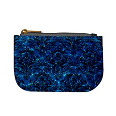 Damask1 Black Marble & Deep Blue Water (r) Mini Coin Purses by trendistuff