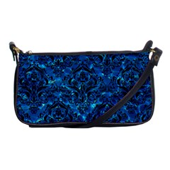 Damask1 Black Marble & Deep Blue Water (r) Shoulder Clutch Bags by trendistuff