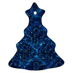 Damask1 Black Marble & Deep Blue Water (r) Ornament (christmas Tree)  by trendistuff