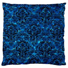 Damask1 Black Marble & Deep Blue Water (r) Large Cushion Case (two Sides) by trendistuff
