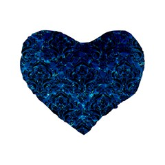Damask1 Black Marble & Deep Blue Water (r) Standard 16  Premium Flano Heart Shape Cushions by trendistuff