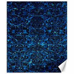 Damask2 Black Marble & Deep Blue Water (r) Canvas 20  X 24   by trendistuff
