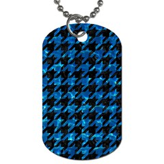 Houndstooth1 Black Marble & Deep Blue Water Dog Tag (two Sides) by trendistuff
