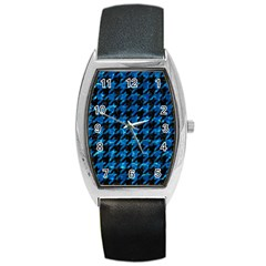 Houndstooth1 Black Marble & Deep Blue Water Barrel Style Metal Watch by trendistuff