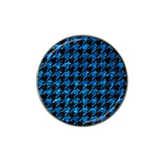 Houndstooth1 Black Marble & Deep Blue Water Hat Clip Ball Marker by trendistuff