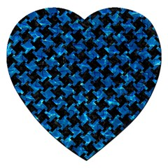 Houndstooth2 Black Marble & Deep Blue Water Jigsaw Puzzle (heart) by trendistuff