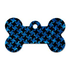 Houndstooth2 Black Marble & Deep Blue Water Dog Tag Bone (one Side) by trendistuff