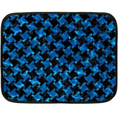 Houndstooth2 Black Marble & Deep Blue Water Double Sided Fleece Blanket (mini)  by trendistuff