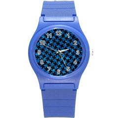 Houndstooth2 Black Marble & Deep Blue Water Round Plastic Sport Watch (s) by trendistuff