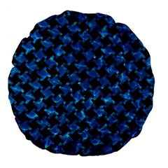 Houndstooth2 Black Marble & Deep Blue Water Large 18  Premium Flano Round Cushions by trendistuff