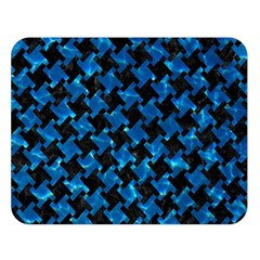 Houndstooth2 Black Marble & Deep Blue Water Double Sided Flano Blanket (large)  by trendistuff