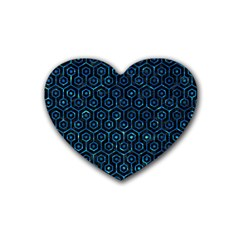 Hexagon1 Black Marble & Deep Blue Water Heart Coaster (4 Pack)  by trendistuff