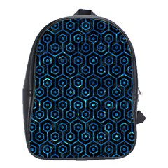 Hexagon1 Black Marble & Deep Blue Water School Bag (xl) by trendistuff