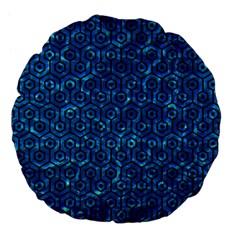 Hexagon1 Black Marble & Deep Blue Water (r) Large 18  Premium Flano Round Cushions by trendistuff