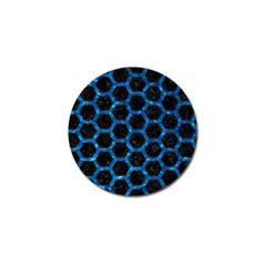 Hexagon2 Black Marble & Deep Blue Water Golf Ball Marker by trendistuff
