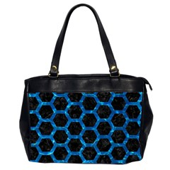 Hexagon2 Black Marble & Deep Blue Water Office Handbags (2 Sides)  by trendistuff