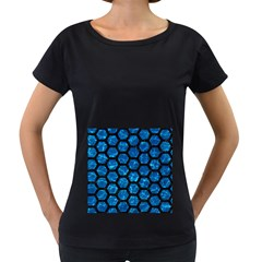 Hexagon2 Black Marble & Deep Blue Water (r) Women s Loose Fit T Shirt (black) by trendistuff