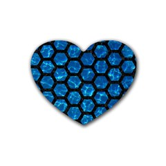 Hexagon2 Black Marble & Deep Blue Water (r) Rubber Coaster (heart)  by trendistuff