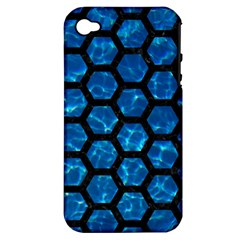 Hexagon2 Black Marble & Deep Blue Water (r) Apple Iphone 4/4s Hardshell Case (pc+silicone) by trendistuff