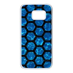 Hexagon2 Black Marble & Deep Blue Water (r) Samsung Galaxy S7 White Seamless Case