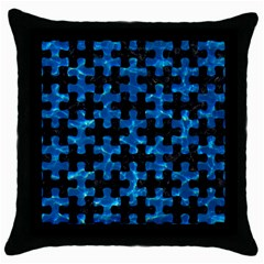 Puzzle1 Black Marble & Deep Blue Water Throw Pillow Case (black) by trendistuff