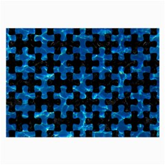 Puzzle1 Black Marble & Deep Blue Water Large Glasses Cloth by trendistuff