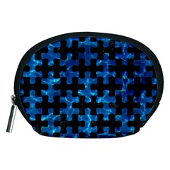Puzzle1 Black Marble & Deep Blue Water Accessory Pouches (medium)  by trendistuff