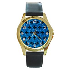 Royal1 Black Marble & Deep Blue Water Round Gold Metal Watch by trendistuff