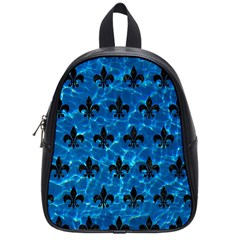 Royal1 Black Marble & Deep Blue Water School Bag (small) by trendistuff