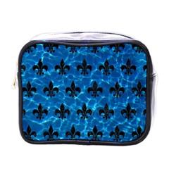 Royal1 Black Marble & Deep Blue Water Mini Toiletries Bags by trendistuff