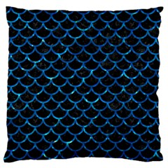 Scales1 Black Marble & Deep Blue Water Large Flano Cushion Case (one Side) by trendistuff