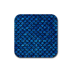 Scales1 Black Marble & Deep Blue Water (r) Rubber Square Coaster (4 Pack)  by trendistuff