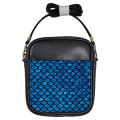 Scales1 Black Marble & Deep Blue Water (r) Girls Sling Bags by trendistuff