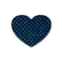Scales2 Black Marble & Deep Blue Waterck Marble & Deep Blue Water Rubber Coaster (heart)  by trendistuff