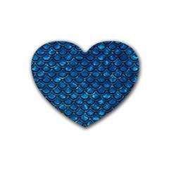 Scales2 Black Marble & Deep Blue Water (r) Rubber Coaster (heart)  by trendistuff