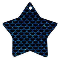 Scales3 Black Marble & Deep Blue Water Star Ornament (two Sides) by trendistuff
