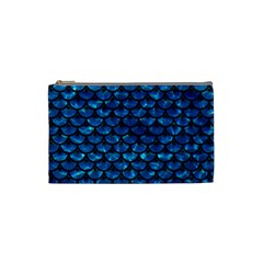 Scales3 Black Marble & Deep Blue Water (r) Cosmetic Bag (small)  by trendistuff