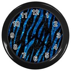 Skin3 Black Marble & Deep Blue Water Wall Clocks (black) by trendistuff