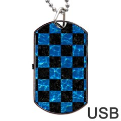 Square1 Black Marble & Deep Blue Water Dog Tag Usb Flash (two Sides) by trendistuff